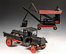 (2) METAL TOYS - Keystone, in black and red painted steel with decals, circa 1925; Steam Shovel and Sprinkler Tank Truck (missing tank)