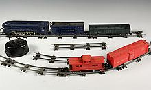 TOY TRAIN SET - 1948 Gilbert 'American Flyer' S Gauge Set with 'The Royal Blue' Streamlined 4-6-2 Engine 350 & Tender, Cars 631 & 6