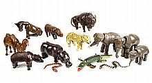 (19) SCHOENHUT CIRCUS TOYS - Articulated Toys, ca 1920, inc: zebra, camel, bison, lg and sm circus horses, rhino, bear, brown horse, al