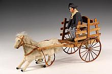 FRENCH MECHANICAL TOY - White Horse Pulling Wooden Cart with Rider, ca 1900, the man with ceramic head, in Bretonese costume, the horse
