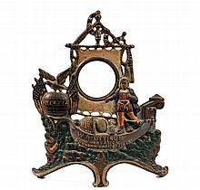 CIGAR ADVERTISING CLOCK HOLDER - 'WA Ottings Plantation Bowlers Choice Cigar', in painted cast iron, issued at the time of the Columb