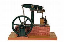 MODEL STEAM ENGINE - An Extremely Fine and Well Machined Stuart Center Pillar Beam Engine Model, Mid 20th c, with a cast single center