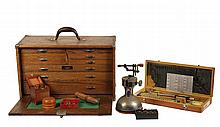 COLLECTION WATCHMAKER'S TOOLS - Extensive group of tools, including a 'Union' oak toolbox with machinist's tools, some early tools