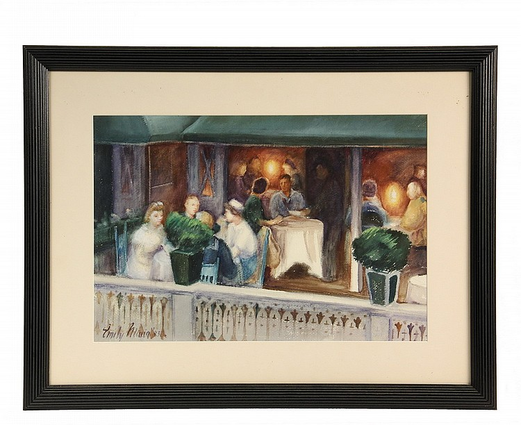 EMILY MUIR (ME, 1904-2003); Sailors and Girls, San Francisco Restaurant, watercolor on Arches paper, signed lower left and dated 1943,