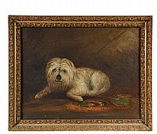 DOG PORTRAIT - A Reclining Shaggy White Dog, oil on canvas, signed upper right