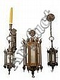 3 Baroque Style Wrought Metal Lanterns