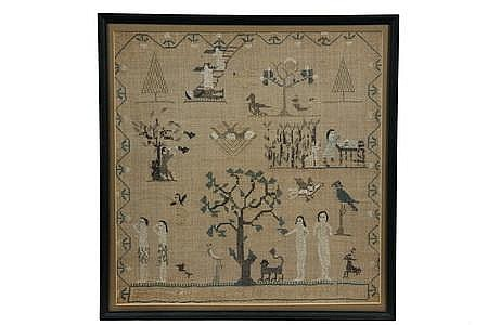 1840s New England Sampler S Martine Adam & Eve