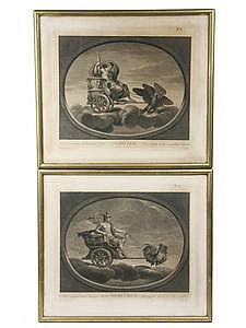 Pr 18th C Engravings Jupiter & Mercury  Raphael