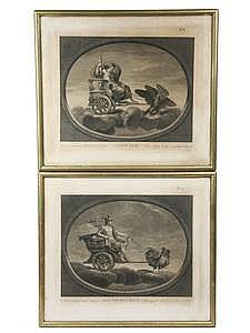 Pr 18th C Engravings Jupiter & Mercury  Raphael