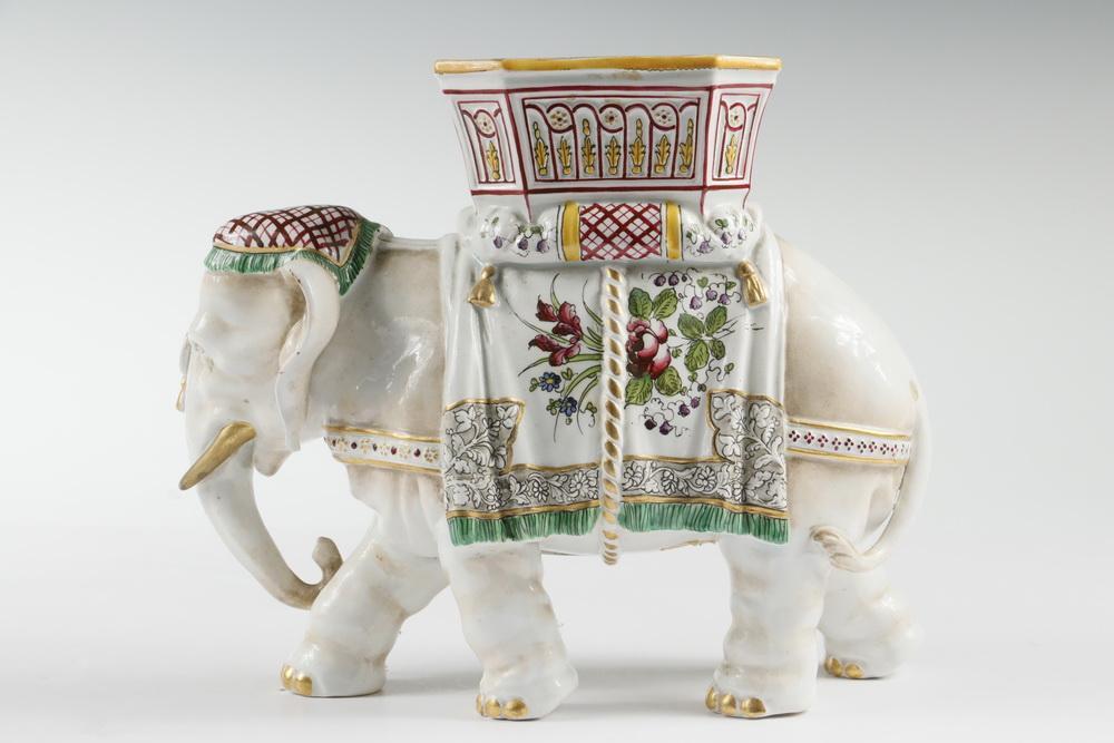 19th C Majolica Elephant Vase