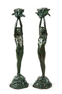 Pr Bronze Candlesticks Poppies V H Walter c1930