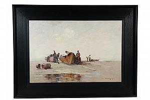 OOC - Fishermen Repair Nets on Beached Dories by Edward A. Page (MA, 1850-1928), signed lr, in original fumed oak panel frame from Fran