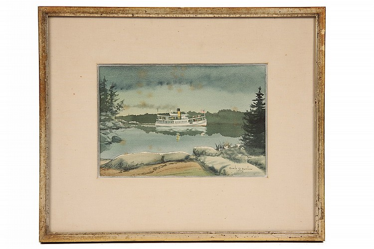 W/C GOUACHE - Coastal Steamer by Earle G. Barlow (20th c Maine), signed lr and dated 1970, in gold stick frame, matted and glazed, SS: