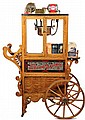 REPLICA POPCORN CART - Limited Edition Cretors 1900 Style Reproduction Oak Popcorn Cart with copper bowl, lettered mirror panels, clown