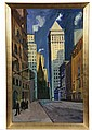 OIL ON BOARD - 'New York Scene #1' (Trinity Church) by Carl Sprinchorn (ME, 1887-1971), unsigned, titled verso, estate stamp of Carl
