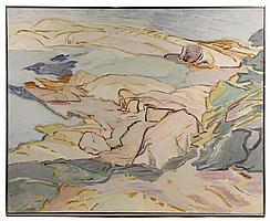 MONUMENTAL OIL ON CANVAS - 'Golden Shore', 1979, by Sally Amster (NY/ME, 1938-1988), signed and dated lr and verso, NYC address & Far