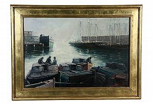 """OOC - Harbor Scene with Barges and Schooners at Warehouses by Edward A. Page (MA, 1850-1928), signed lr and dated 1914, SS: 19 1/2"""" x 2"""