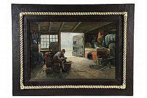 OOC - Fisherman at Work Inside His Shack by Edward A. Page (MA, 1850-1928), in brown painted burlap covered panel frame with gold paint
