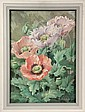 TEMPERA ON MASO - 'Flowers' by Janet Scott Berry (ME, 1919 -), wife of Carroll Thayer Berry