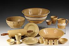 (16 PCS) YELLOW WARE POTTERY - Including: Rolling Pin on stand; 2 Mixing Bowls; Milk Pan; 2 Sm Bowls; Sm Pitcher; Egg Cup; 3 Sm Bowls;