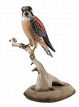 BIRD CARVING - 'Kestrel' by Wendell H. Gilley (ME, 1904-1983), signed on underside and dated 1978, finely detailed, fully dimensional