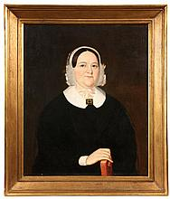 OIL ON CANVAS, LAID TO PANEL - Portrait of a Philadelphia Matron, circa 1840, in black with a white collar & square gold brooch, simple