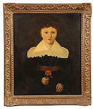 OIL ON CANVAS, LAID TO BOARD - Young Boy in White Shawl Collar, holding a red Geranium, staring directly at the viewer. Unsigned, ca 18