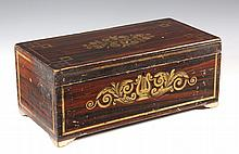 PAINTED AMERICAN DOCUMENT BOX - Antebellum New England Grain Painted Pine Box with ochre pinstriping and leaf scroll with lyre cartouch