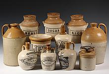 (37 PCS) ENGLISH STONEWARE IN (3) TRAYS - Including: Jugs, Covered Jars, Medicine Bottles, Miniature Jugs, a set of (3) Sugar/Rice/Meal