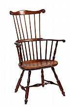 WINDSOR ARMCHAIR - 18th c. Pennsylvania High Comb-back Windsor Armchair in pine oak, and maple, with scroll rail, seven-spindle back, s