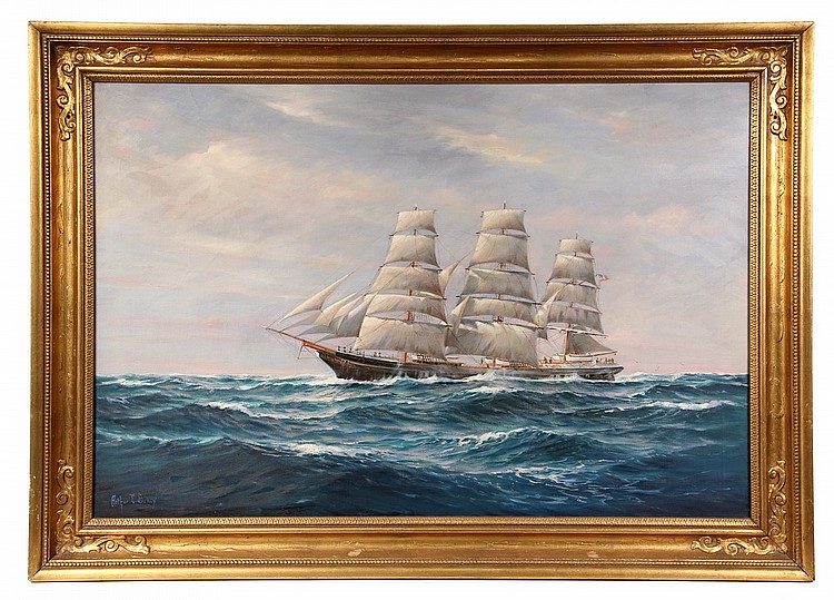 MARINE OIL ON CANVAS - Portrait of Fully Rigged Ship at Sea, by Arthur Edwin Bracy (MI, 20th c), signed lower left. In gold molded matc