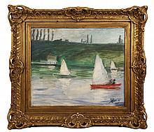 """OIL ON CANVAS - Sailing on a Park Lake by Hans Zank (German, 1889-1967), signed lr, in a gilt carved and reticulated frame. SS: 16"""" x 1"""