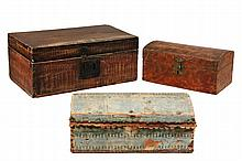 (3) EARLY BOXES - 19th c. or earlier New England Softwood Document or Keepsake Boxes, two paint decorated, one in old wallpaper, two wi