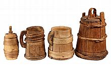 (4 PCS) COOPERWARE - 19th c. Wooden Coopered Serving Pcs, including: Two Pitchers, a Small Canteen and a Covered Butt with bentwood lid