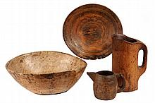 (4 PCS) TREENWARE - 19th c. or Earlier Large Bowl, Charger, Large Pitcher & Small Pitcher. Found in Maine. 5