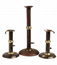 PAIR PLUS ONE COUNTRY CANDLESTICKS - Brass