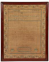 19TH C SAMPLER - Alphabet and Poetry Sampler by Rebecca Livingston, circa 1830-1840, of Southern origin, possibly NC, having flower and