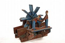 FOLK ART WATER WHEEL - Water wheel whirligig with two lumberjacks turning the crank, from Pownal, Vermont, ca 1940, in blue and red pai