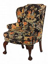 ASIAN THEMED WINGCHAIR - Contemporary Ball & Claw Foot Chippendale Style Mahogany Wingchair upholstered in later chinoiserie fabric wit