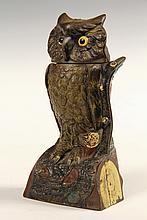 CAST IRON MECHANICAL BANK - J & E Stevens Swivel Head Owl in original paint, with glass eyes, Pat'd. Sept 21 & 28, 1880. 7 3/4