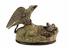 CAST IRON MECHANICAL BANK - J & E Stevens Painted Cast Iron Bird & Chicks Mechanical Bank, Pat'd. Jan 23, 1883, in original paint, wit