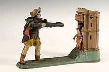 CAST IRON MECHANICAL BANK - J & E Stevens Painted Iron 'William Tell Mechanical Bank,