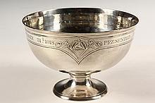 STERLING PRESENTATION BOWL - Arthur Stone Sterling Silver Footed Bowl engraved
