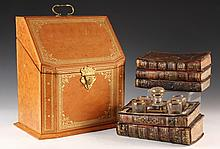 (2 PCS) LIBRARY LEATHERGOODS - 18th c. Books as a Liquor Set, containing early glasses & decanter inside hollowed out & hinged books; P