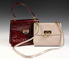 (2) DESIGNER LADY'S PURSES - Both w/ original Salvatore Ferragamo cloth bags, inc: Taupe with gold fittings, drop ring closure, 10