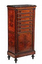 COLLECTOR'S OR LINEN CABINET - Aesthetic Period Marble Top Ebony & Figured Inlaid Mahogany, contrasted molding & knobs, 4 single & 1 f