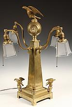 BANK CLOCK - Solid Brass Stanchion Clock with four lights, two clocks at top, eagle mounts and finial, early 20th c., unmarked other th
