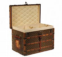 LOUIS VUITTON STEAMER TRUNK - Circa 1910 Gent's Trunk, serial number 194910, with typical exterior, interior having two deep upper tra