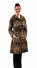 FUR COAT - 1970s Vintage Leopard Skin Long Coat with leather trim and buttons, belt, made by Christie Brothers, New York. Glove pockets