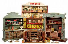 (3) FRENCH & (1) GERMAN TOY GROCERY STORES - 1920s-30s Child's Toy Stores, each with many accessories, advertising pieces, (some are l